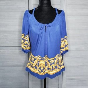 Cache Blue Gold Cold Shoulder Top Small Soft Shirt 3/4 Sleeve Relaxed Fit